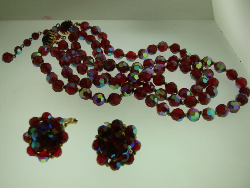 BEAUTIFUL VINTAGE RED A. B. CRYSTAL 3 STRAND NECKLACE & MATCHING EARRINGS SET!