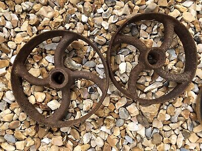 Pair Of Vintage Cast Iron Wheels 8 Inch