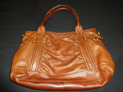 B. Makowsky Brown Leather Large Handbag Satchel Purse Tote Shoulder (Charity)