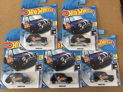 Mini Race Cars (2019 Hot Wheels MORRIS MINI Cooper Blue Lot of 5 FIVE Cars HW Race)