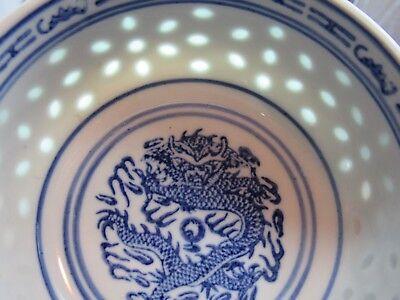 "3 Chinese Dragon Blue/White Rice Eye Grain Patterned Sauce Bowl  4 7/8"" DIAMETER"