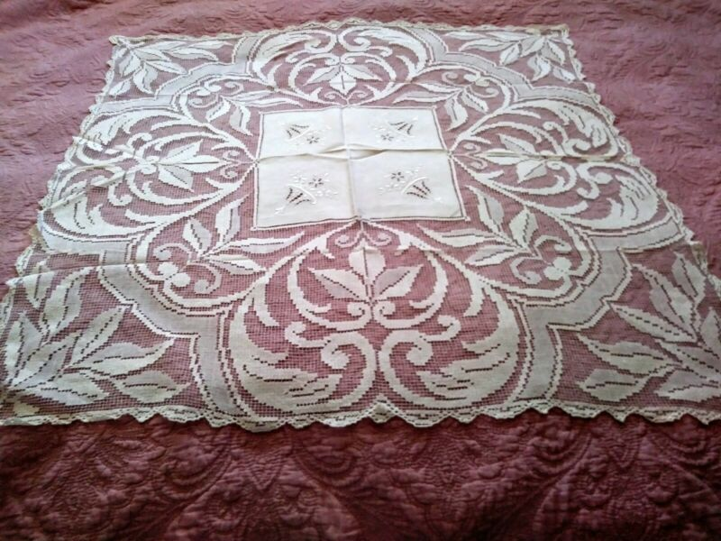 "Amazing Italian Filet Lace Cutwork & Embroidered 35"" by 32 1/2"" Linen Tablecloth"