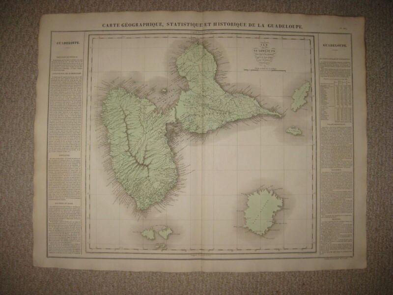 HUGE FOLIO ANTIQUE 1825 GUADELOUPE CARIBBEAN WEST INDIES CAREY & LEA BUCHON MAP