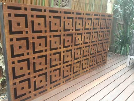 Metal laser cur rust art oriental feature wall panel steel