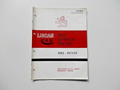LUCAS Parts List 1963 ROVER and LAND ROVER