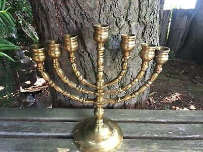 Vintage Brass Menorah Candelabrum Candle Holder Rotating Arm 7 Branches