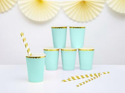 Mint Green and Gold Paper Party Cups - Pack of 6