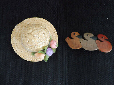 2 süße Haarspangen für Mädchen - Strohhut m. Blumen - 3 Enten - Neuwertig!