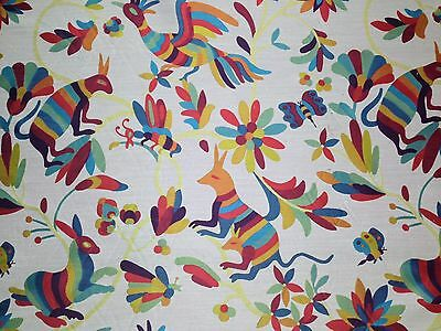 "RICHLOOM OTAMI CARNIVAL BLUE BIRD ANIMAL JACQUARD UPHOLSTERY FABRIC BY YARD 58""W"