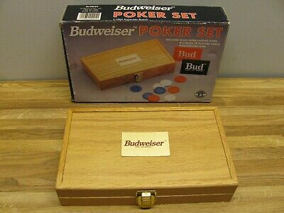 Vintage 1994 BUDWEISER Poker Set Chips & Cards Wooden Oak Case - Chips Oak Case