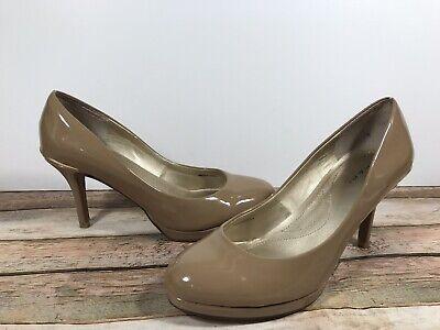 Tahari Wilma Tan Beige Patent Leather Round Toe Gold Accent Pumps Heels Sz 8 Tan Patent Leather Pumps