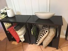 Pair of bedsides black used , light marks on top Parkwood Gold Coast City Preview