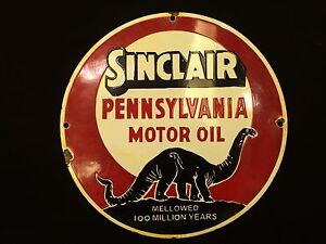 Vintage-Porcelain-Original-12-Diameter-Sinclair-Motor-Oil-Round-Enamel-Sign