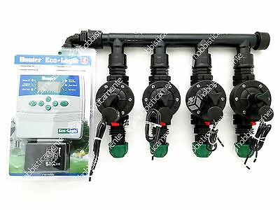 Kit Irrigation Programmer Hunter 4 Zone Solenoid Valve Lawn Garden Toro