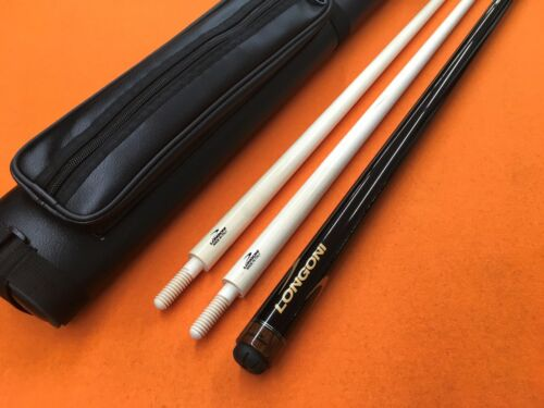 LONGONI CAROM CUE BLACK FOX WITH 2 SHAFTS & CASE.