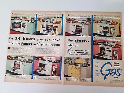 1958 Sears Range Top Cooking Lady Kenmore Gas Range Pink Yellow Original Ad