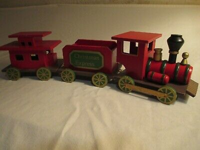 Christmas Express Wooden Train Set – 3 pieces - Engine, Freight Car, Caboose