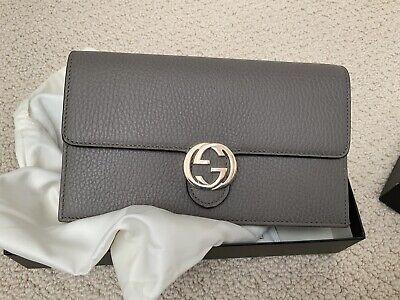 4825faa1ca14fe NEW Gucci Women's Gray Leather GG Marmont Mini Chain Crossbody Purse Bag