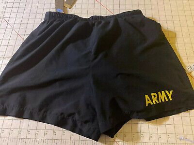 US Army PT Shorts PFU Medium M Physical Fitness Training Black Lined EUC Med