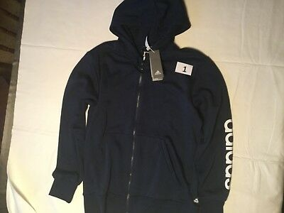 Adidas Full Zip Hooded Sweatshirt LinedMen New Tags Navy Dark Gray