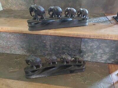 2 Antique Vintage African Hand Carved Blackwood  Elephants Black Wood