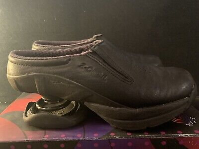 Womens  Z-Coil Taos Leather Comfort Pain Relief Shoes Black/Gray Slip On Mule 7W