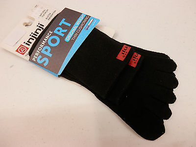 INJINJI TOE SOCKS PERFORMANCE SPORT ORIGINAL WEIGHT CREW BLACK SIZE M - Injinji Performance Socks