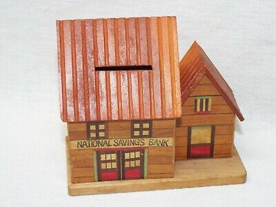 Vintage National Savings Wood House Piggy Wood Coin Bank Absolutely Adorable!!