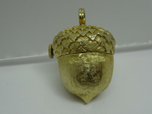 Vintage Roymart 17 Jewel Swiss Gold Plated ACORN Watch Pendant , Fall Season