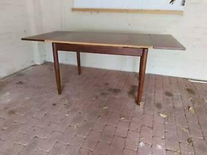 Mid-century wood veneer extendable dining table