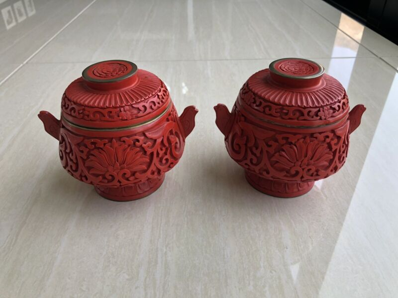 Fine PAIR Chinese Cinnabar Red Lacquer Carved Lidded Jar Boxes Bird Head Handles
