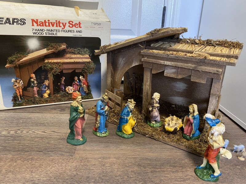 Vintage SEARS made in Italy Christmas hand painted nativity set #7197581 W/ BOX!