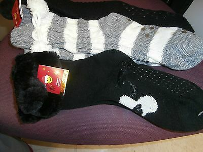 3 Joe Boxer Slipper Sweater Socks Plush  Sz 4-10 -  Black Gray NWT
