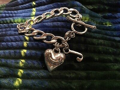 """Silver Juicy Couture Heart Charm Toggle Bracelet w/ Two Charms 7.25"""" Silver Heart Charm Toggle Bracelet"""