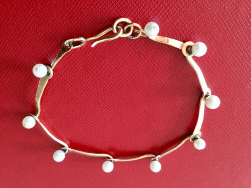 Antique Vintage Deco Mid Century 18k Yellow Gold Modernist Akoya Pearl Bracelet