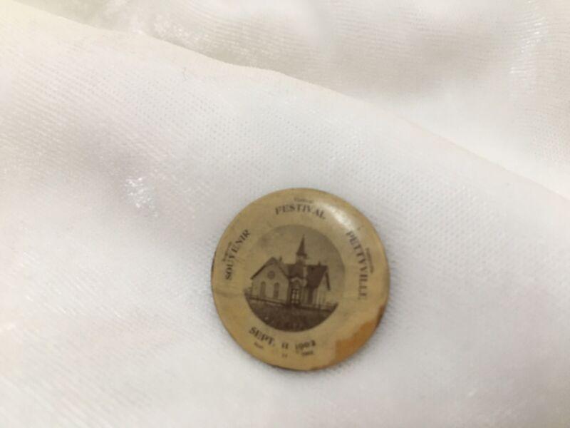 Antique 1902 Vintage Souvenir Celluloid Picture PIN Pettyville WV Festval 9-11