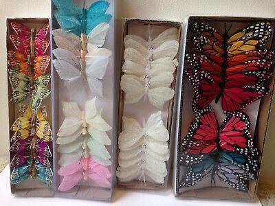 Wholesale LOT 12 Feather Butterflies Pick Size Crafts Weddings Floral Supplies - Wholesale Crafts Supplies