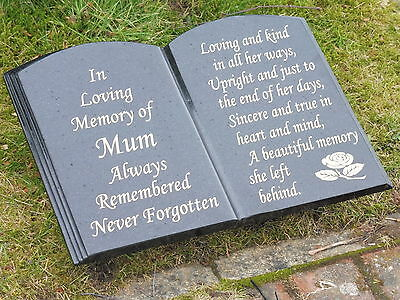 MEMORIAL STONE GRAVE PLAQUE GRANITE BOOK SHAPE PERSONALISED FREE ENGRAVING
