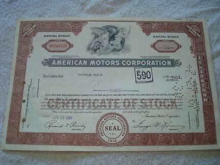 AMC RAMBLER ORIGINAL CORPORATE SHARE STOCK CERTIFICATES