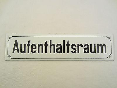 AUFENTHALTSRAUM EMAIL EMAILLE EMAILLIERTES METALL TÜR SCHILD SCHWARZ WEIß RAUM