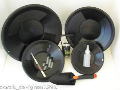 SE L2 Black Gold Pan Panning Kit ! Pans Magnet, Vials, Sniffer, Tweezer & Trowel