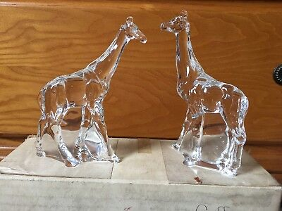 1976 FRANKLIN MINT ANIMALS OF THE ARK GIRAFFE PAIR TWO BY TWO NOAH CRYSTAL BOX