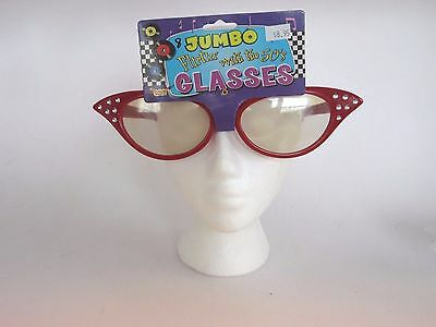 Jumbo Red Glasses 50's Costume Accessory Halloween Party Prop Dress Up](Halloween Costume Red Glasses)