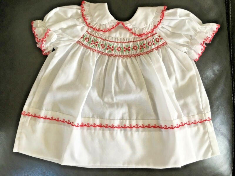 c006477a4 Vintage Infant Baby Girl Polly Flinders Dress Red Flowers Trim Smocked 3 9  mo