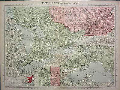 1940 MAP ~ CANADA ONTARIO & PART QUEBEC LAKE SUPERIOR MONTREAL CITY PLAN