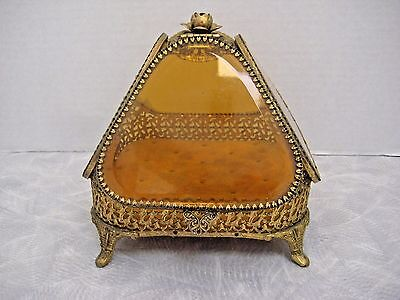Vintage Antique Large Gold Ormolu Jewelry Casket Box Amber Beveled Glass Footed
