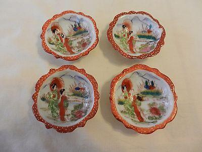 4 Antique hand painted geisha porcelain nut sauce bowls satsuma meiji
