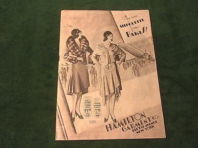1920s HAMILTON GARMENT CO FASHION CATALOG COMPLETE ORIGINAL 40 PAGE  (NJ)