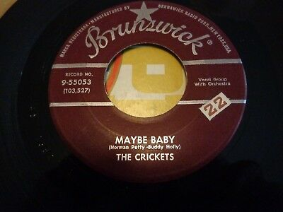 218...ROCK N ROLL 45....THE CRICKETS...MAYBE BABY..BRUNSWICK ...9-55053 for sale  Shipping to Canada