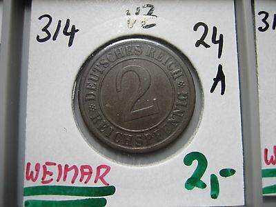 J314  2 Reichspfennig 1924 A in VZ
